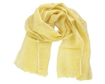 Lime Yellow Linen Scarf