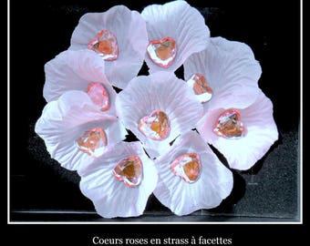 50 rhinestone heart shaped decoration wedding rose 16 MM X 16 MM.