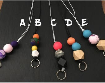 Beaded Teacher lanyard, key accessories, polymer clay, personalised style