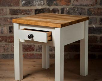 Handmade English Oak Top Side Table with Drawer