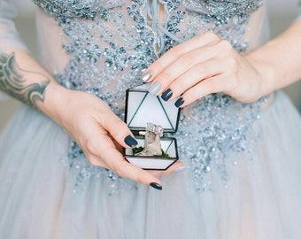 Wedding ring box, geometric glass box, engagement ring box, casket