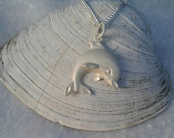 Dolphin Necklace, Dolphin Pendant, Solid Sterling Silver Dolphin Necklace