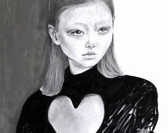 Pencil drawing. Fashion illustration