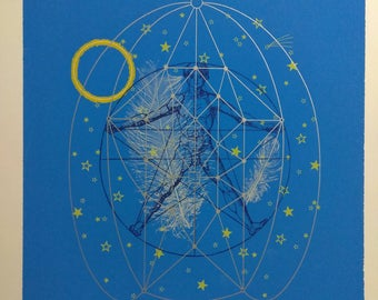 "Vintage Silkscreen Print "" The Dream of Icarus"""