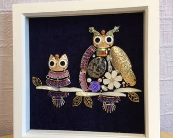 Framed Owl Jewellery Pictures | Unique