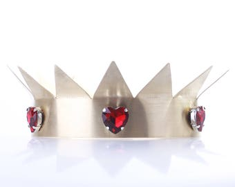 Red queen crown, Queen of hearts crown, Custom crown, Mens crown, women's crown, male crown, red hearts crown, Gold red, hearts, red queen