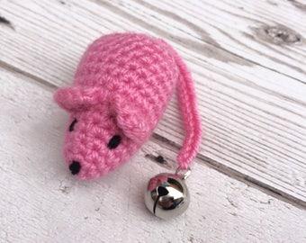 Pink Cat Toy - Catnip Toys - Mouse Cat Toy - Crochet Mouse - Crochet Cat Toys - Cat Toys - Catnip Toy - Present For The Cat - Cat Bells