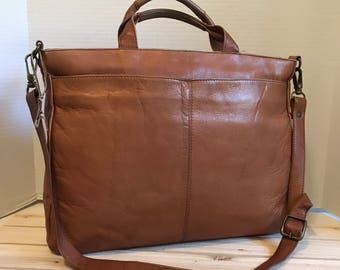 LATICO Vintage Tan Brown Leather Briefcase Bag Work Bag Laptop Bag Genuine Cowhide