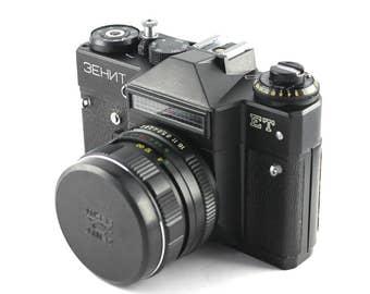 "The Soviet SLR camera ""Zenit-ET"" with the lens ""Helios-44M"""