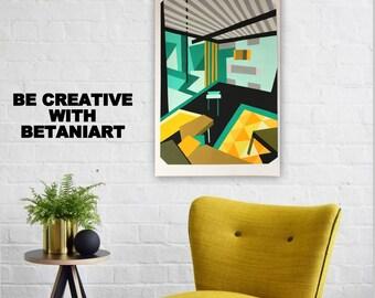 Abstract painting Original painting Abstract artwork Pop art Wall hanging Interior design Modern wall art Decor Gouache Green Black Yellow