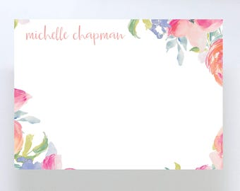 Watercolor Floral Stationary // Flower Border // Thank You Note