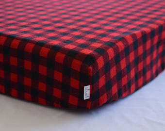 Plaid flannel fitted sheet
