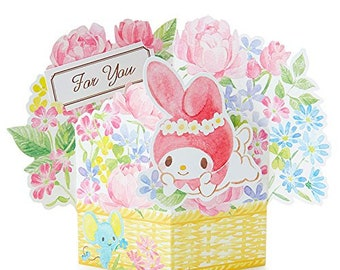 My Melody Flower Basket Pop Up Card with envelope