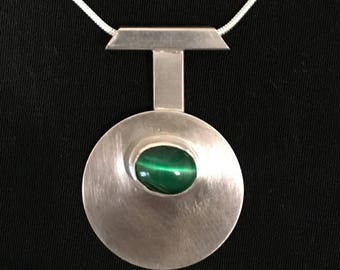 Modern Silver  Emerald Necklace