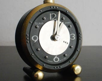Vintage Slava for blind people mechanical soviet alarm clock