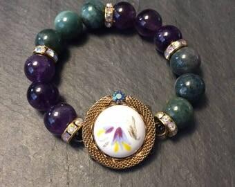 Bracelet, vintage, earring, purple, green, gold, repurposed, Amethyst Quartz, upcycled, stone beads, for women, gift, free shipping, OOAK