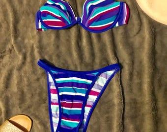 Retro purple striped bikini Size Small