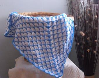 Shells pram blanket - Crochet baby afghan blanket to suit pram or crib