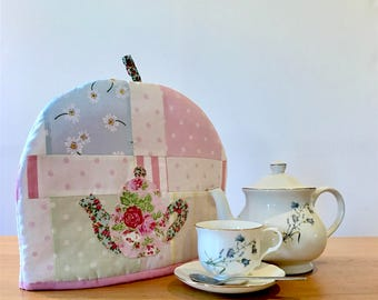Handmade patchwork tea cosy. Insulated and lined