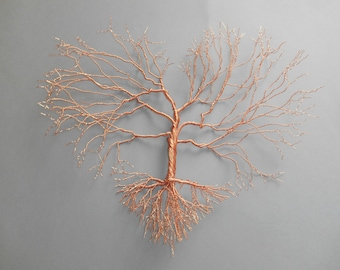 copper wire wall decoration - tree-heart