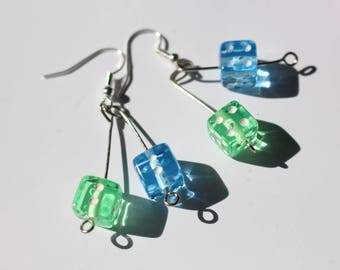 Dice earrings - blue and green
