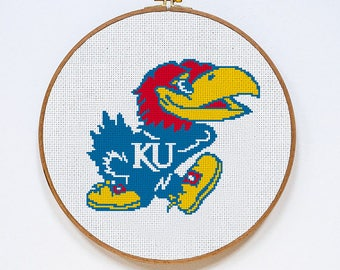 University of Kansas Jayhawks cross stitch pattern, Instant Download, PDF