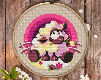 Sheep Cross Stitch Pattern for Instant Download - 057| Modern Cross Stitch | Embroidery File| Funny Cross Stitch| Bedroom Decor| Hoop Art