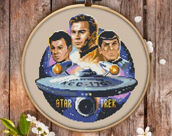 Modern Cross Stitch Pattern of Star Trek for Instant Download - 060| Easy Cross Stitch| Counted Cross Stitch|Embroidery Design