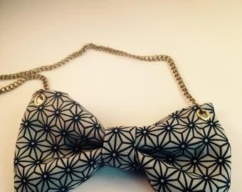 Collar fabric node Japanese pattern Asanoha gray & Black