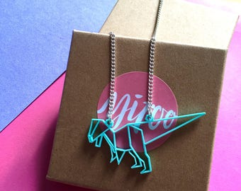 Dinosaur Necklace // Origami T-rex necklace, laser cut necklace, dinosaur acrylic necklace, statement necklace T-Rex