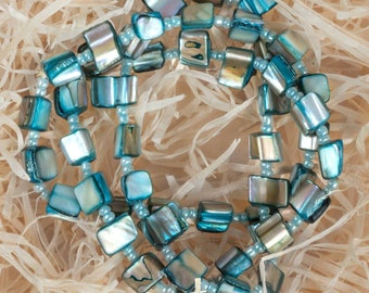 Three Blue Mother of Pearl Bracelets, Mother-of-Pearl, Something Blue, Blue Shell Bracelets, Summer Bracelets, Profits Donated to Charity