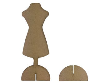 Chipboard Dress Form Mannequin with Stand - Set of 2