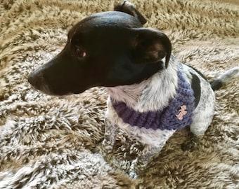 Handmade Knitted  Petrol Coloured Decorative Dog Collar