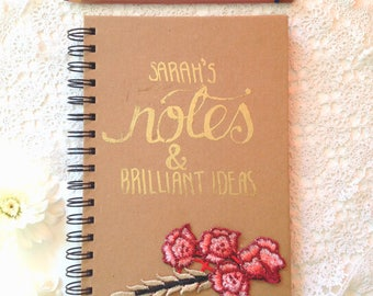 Personalised gold floral hand printed notebook journal diary stationery gift