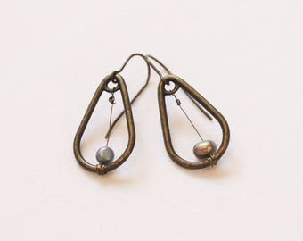 Bronze Teardrops with Pearls | Dangling Earrings