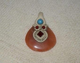 Stone during, orange onyx necklace. handmade for