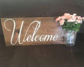 Mason Jar Welcome Floral Sign