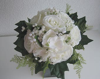 Elegant bridal bouquet - wedding - Biedermeier - silk flower bouquet - roses Registry Office