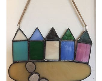 Stained Glass Beach Huts With Pebbles