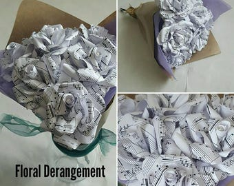 Songsheet Paper Flowers // Lyrics // Custom Song Roses // Unique Gift // Wedding & Anniversary