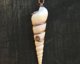Wire Wrapped Long Spiral Shells with wire spiral