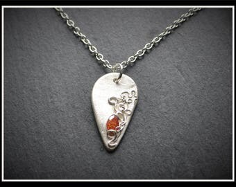 Silver Detailed Teardrop CZ Pendant - Silver Precious Metal Clay (PMC), Handmade, Necklace - (Product Code: ACM070-17)
