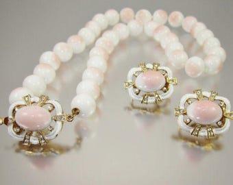 Angel Skin Style Demi parure necklace & clip earrings
