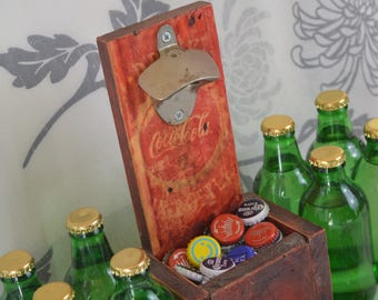 Rustic aged bottle opener catcher