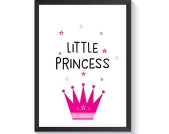 Little Princess Wall Art - Girls Prints - Nursery Decor - Kids Room Art - Nursery Prints - Kids Prints - Girls Room - Wall Prints - Princess