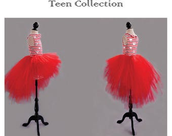 Asymmetrical red or black Tutu for young girl. Tulle dress for teen. With tutu costume for girls. Asymmetrical tulle skirt youth.