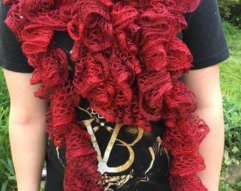 Deep Ruby Red Ruffled Scarf