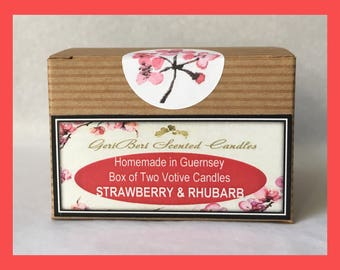 Strawberry & Rhubarb Box of TWO Votive Candles