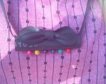 Cute Bow Inner Tube Necklace. Recycled.
