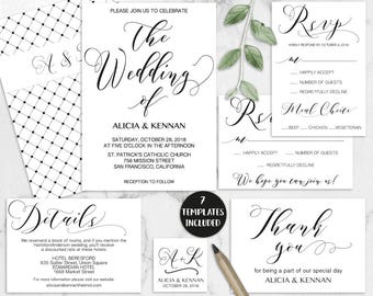 Calligraphy Wedding Invitation Suite Printable, Rsvp, Thank You Card,  Details Editable, DIY